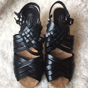 Coach Strappy woven heeled sandal black